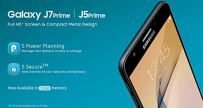 new Galaxy J5 Prime and Galaxy J7 Prime with 32GB of storage