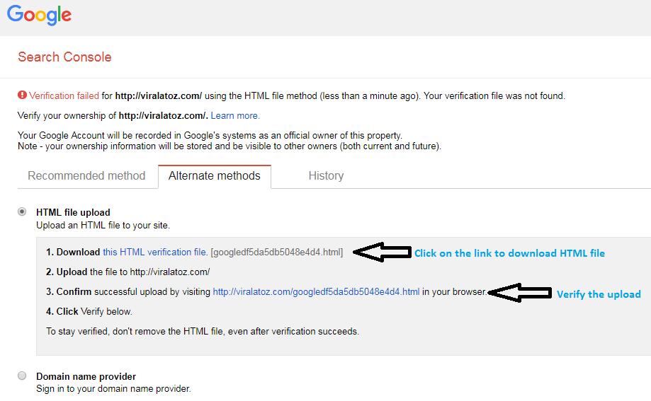 verify the property using Google HTML File upload