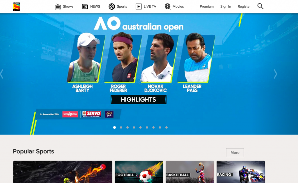 SonyLiv guarantees that it exhibits all the sporting action without intermittent advertisements