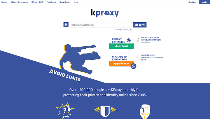 access blocked websites anonymously through kproxy